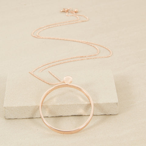 Fine Facet Chain With Ring Necklace - Rose Gold - Willow Rose Boutique