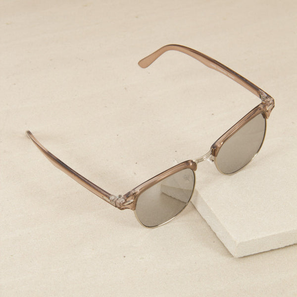 Half Metal Frame Sunglasses - Clear