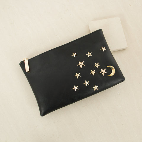 Stars & Moon Zip Top Clutch