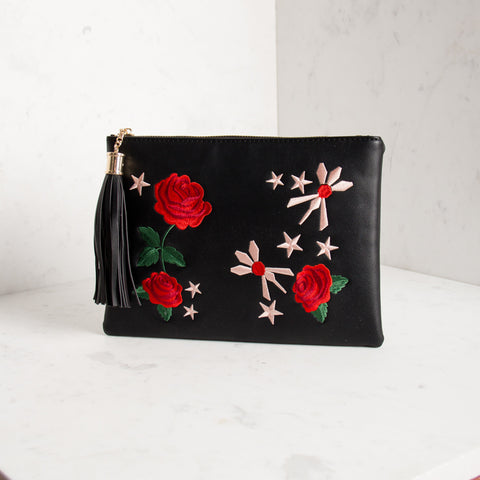 Embroidered Roses & Stars Tassel Clutch