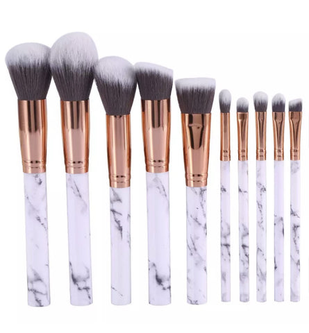 Travel Size Marble Makeup Brush Set 10 Piece - Willow Rose Boutique
