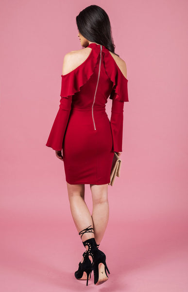 Cold Shoulder Ruffle Dress - Red
