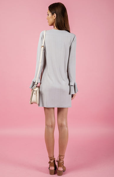 Textured Double Frill Dress - Silver