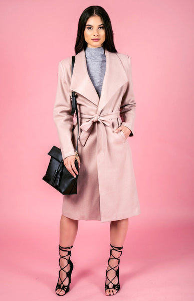 Longline Faux Wool Coat - Blush - Willow Rose Boutique