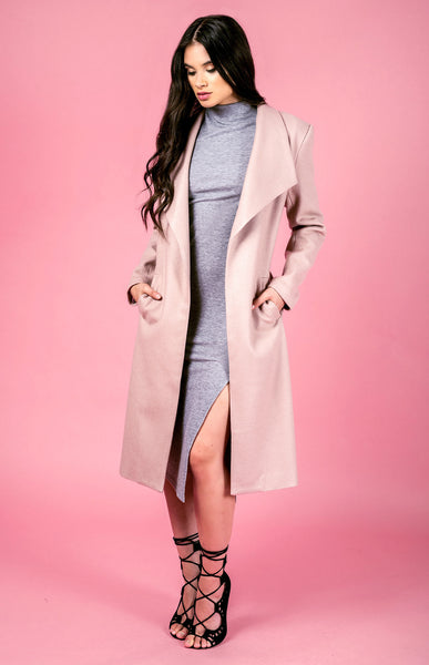 Longline Faux Wool Coat - Blush