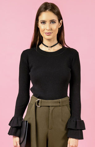Double Frill Sleeve Knit - Black - Willow Rose Boutique