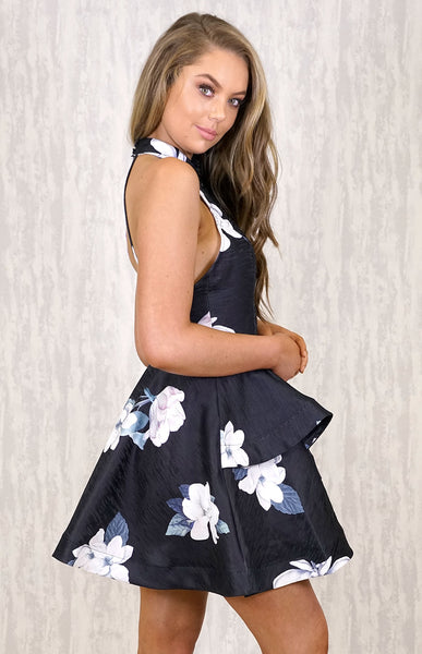 Halter Dress With Ruffle - Black