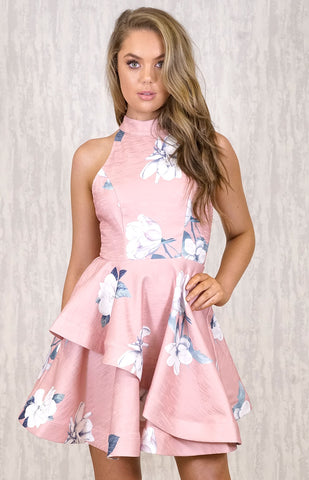 Halter Dress With Ruffle - Blush