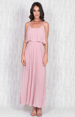 Layered Pleated Maxi Dress With Tassel Straps - Blush
