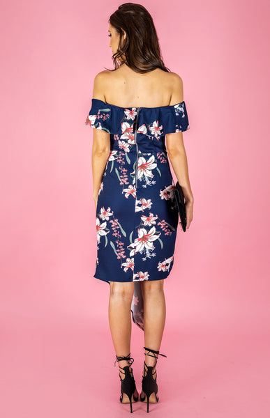 Off The Shoulder Frill Print Dress - Navy