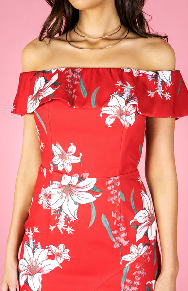 Off The Shoulder Frill Print Dress - Red