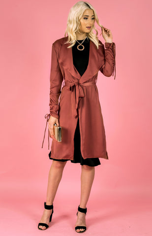 Drawstring Sleeve Satin Duster Jacket - Blush - Willow Rose Boutique
