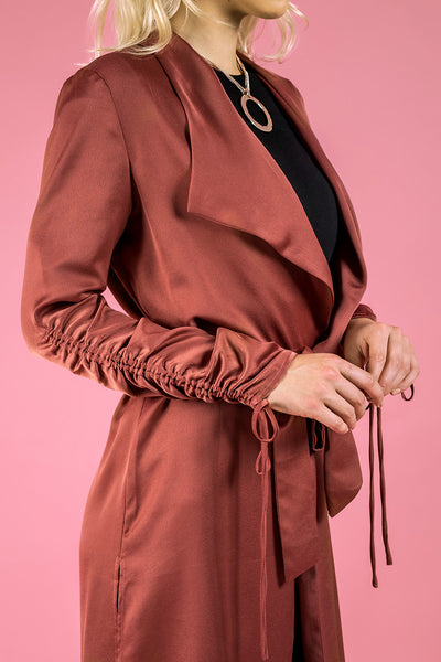 Drawstring Sleeve Satin Duster Jacket - Blush