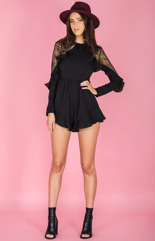 Lace Insert Curly Frill Playsuit - Black