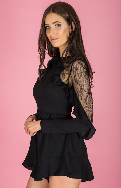 Lace Insert Curly Frill Playsuit - Black - Willow Rose Boutique