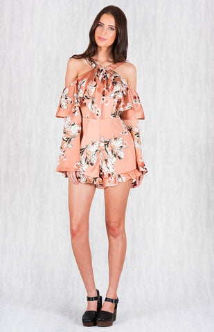Satin Floral Cold Shoulder Playsuit