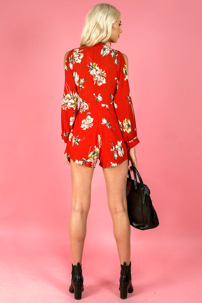 Floral Print Split Sleeve Jumpsuit - Red