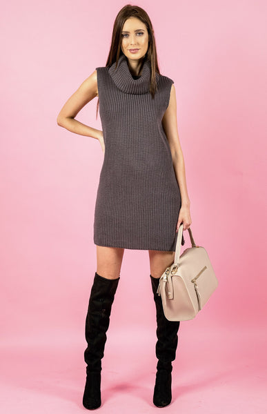 Sleeveless Turtleneck Knit Dress - Grey (Pre-Order) - Willow Rose Boutique