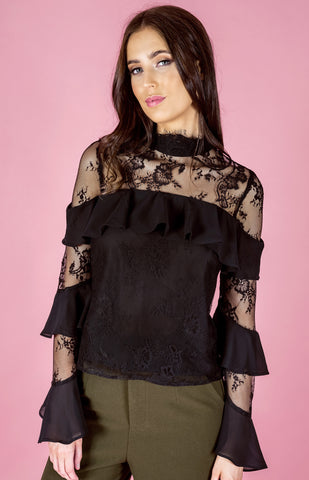 Lace High Neck Frill Top - Black - Willow Rose Boutique