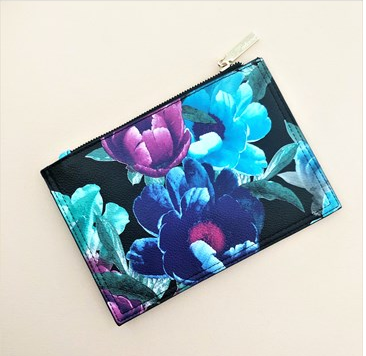 Floral Clutch - Teal/Black