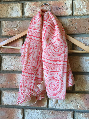 Scarf Red Boho - Willow Rose Boutique