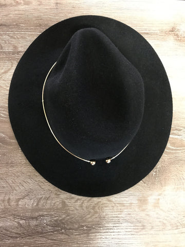 Metal Trim Hat - Black - Willow Rose Boutique