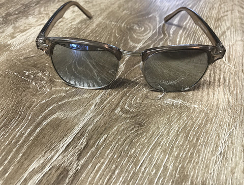 Half Metal Frame Sunglasses - Clear - Willow Rose Boutique
