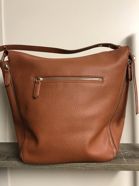 Four Zips Shoulder Bag - Tan - Willow Rose Boutique
