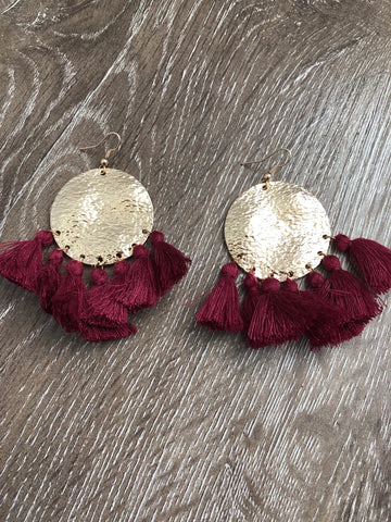 Lipton Earrings - Red Wine