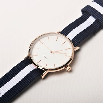 Striped Watch - Navy Blue/White