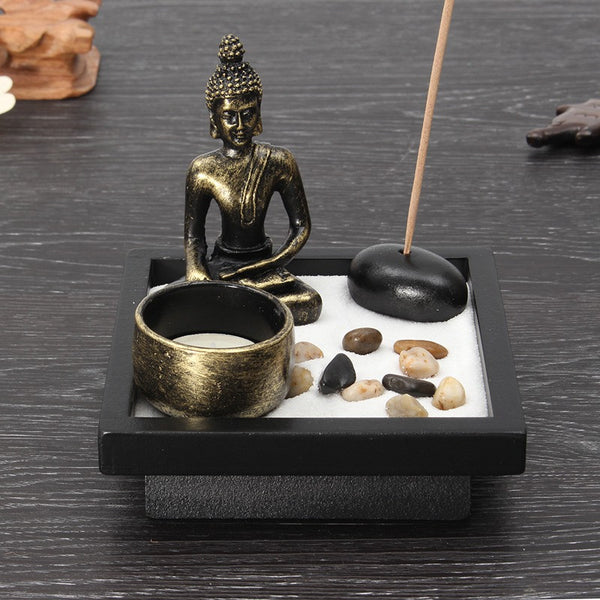 Zen Buddha Sand Garden with meditation tea light holder