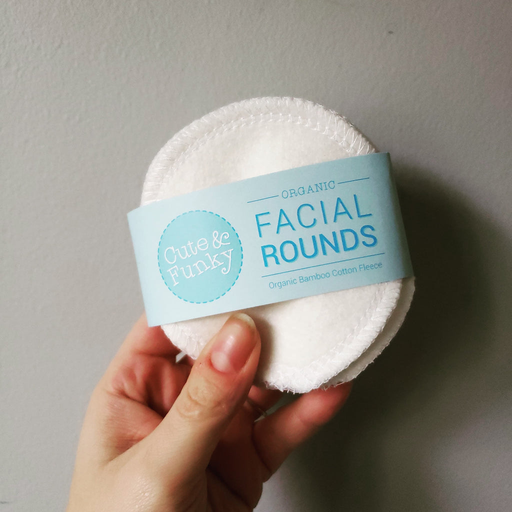 Reusable Organic Bamboo Cotton Facial Rounds- Choose your set - Cute and Funky