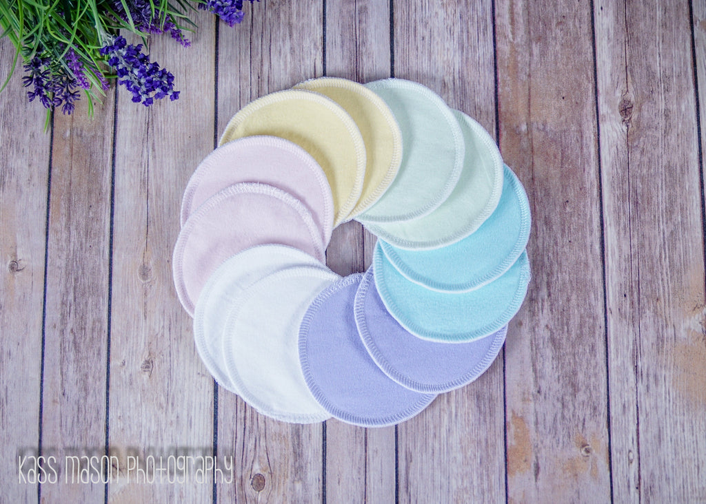 Washable Breast Pads, 6 pairs (12 pads) of Pastel Colors with PUL - Cute and Funky