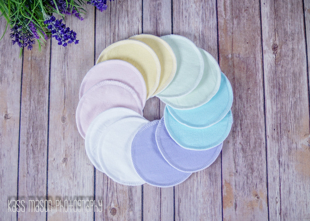 Reusable Nursing Pads, 6 Pairs (12 pads) of Pastel Cotton Breast Pads - Cute and Funky