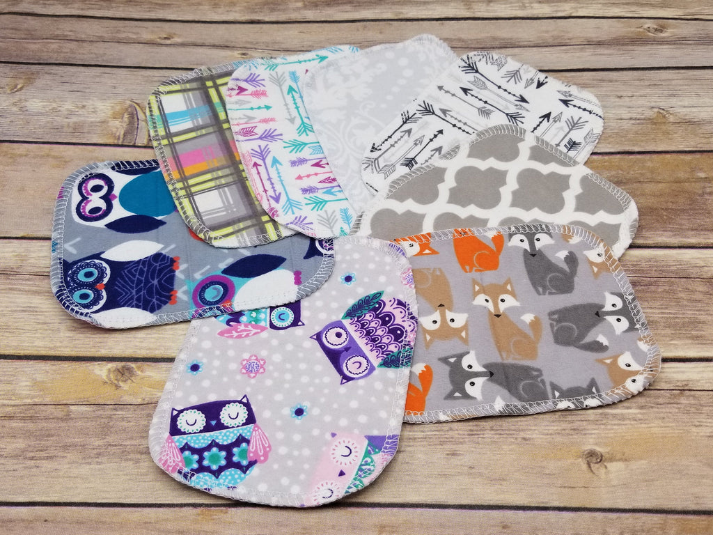 "Reusable Cloth Wipes- 20 Mixed Prints- 5""x 6"" - Cute and Funky"