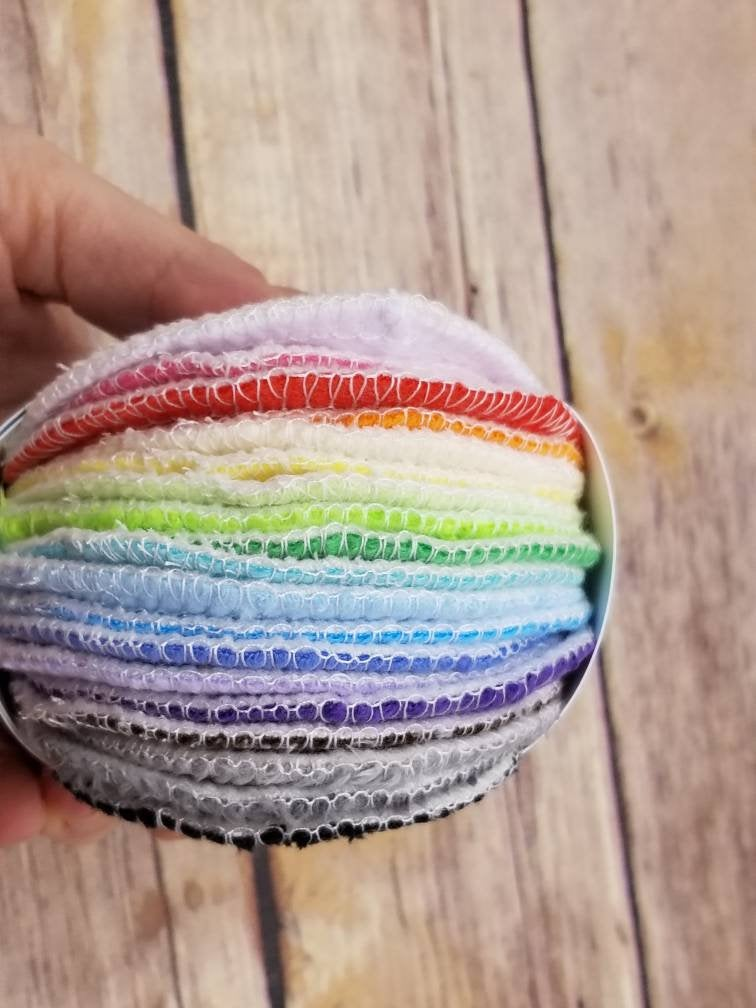 Organic Bamboo Rounds- 20 Rainbow Minky - Cute and Funky