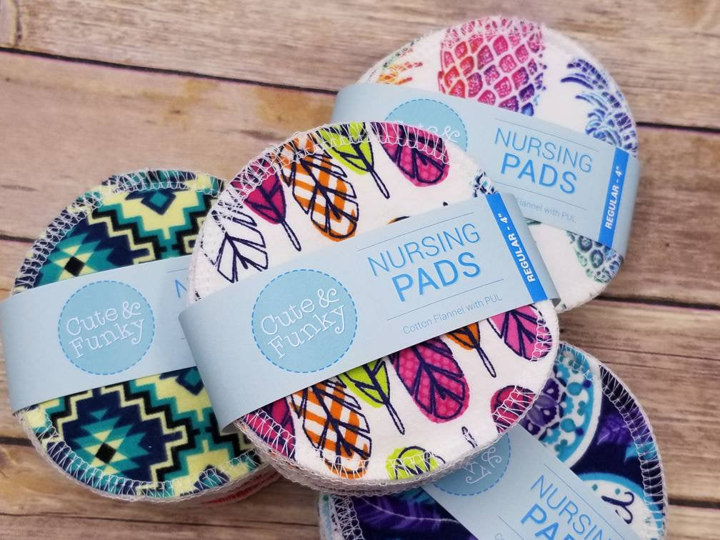 Reusable Nursing Pads, 6 pairs (12 pads), Washable Breast Pads with PUL - Cute and Funky