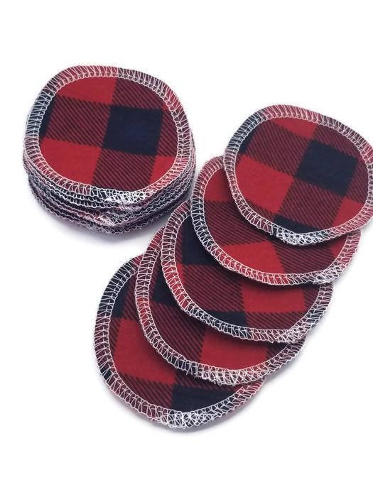 Facial Rounds- Set of 20- Red Buffalo Plaid - Cute and Funky