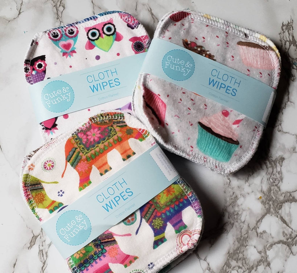 Reusable Cloth Mask Remover Wipes- 6 Mixed Prints - Cute and Funky