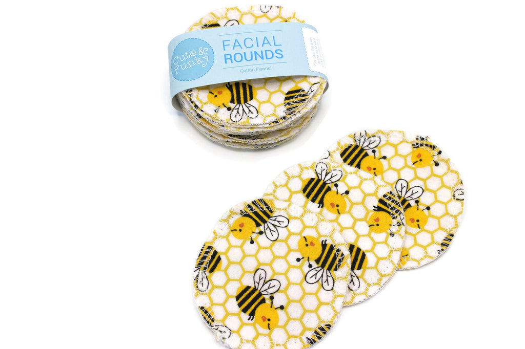 Facial Rounds- Set of 20- Bees Print - Cute and Funky