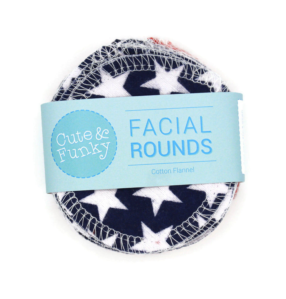 Reusable Cotton Rounds, Set of 20- Americana Prints - Cute and Funky