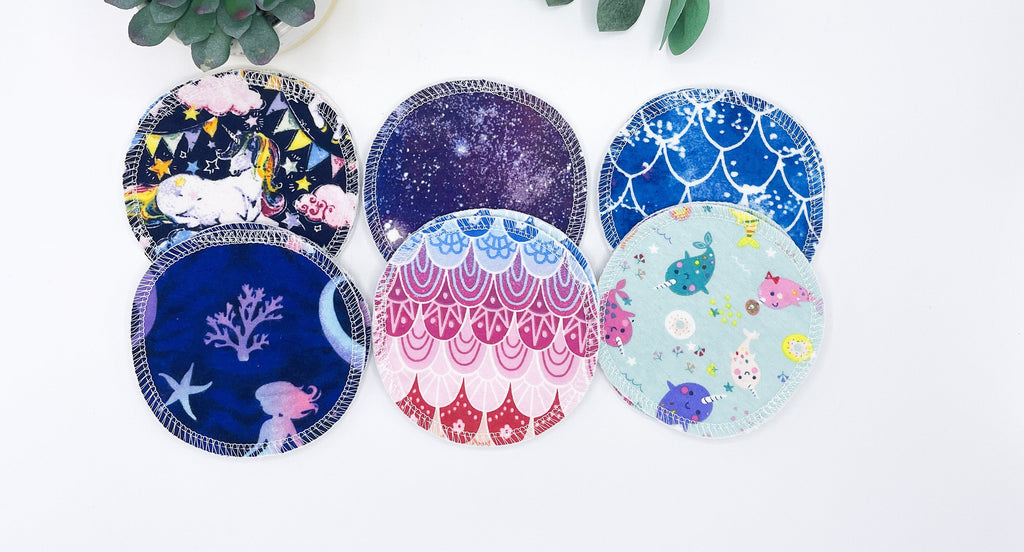 "Reusable Nursing Pads, 6 pairs of 4"" Fantasy Prints, Washable Breast Pads with PUL, Washable Breastfeeding Nursing Pad, Baby Shower Gift - Cute and Funky"