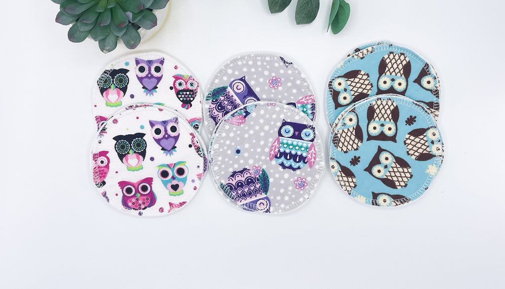 "Eco-friendly Nursing Pads, Set of 6 4"" Pairs, Owl Prints, 100% Cotton, Breast Pads, Washable nursing pads, Baby shower Maternity gift - Cute and Funky"