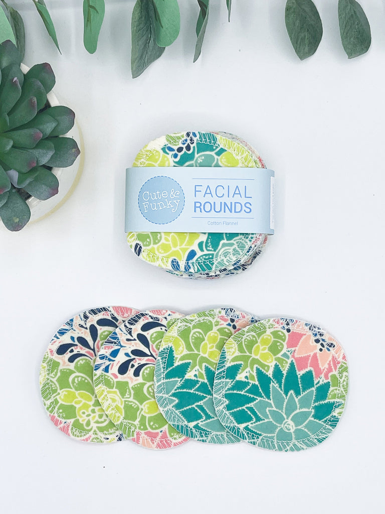 Reusable Facial Pads, 20 Eco-Friendly Makeup Removers, Reusable Cotton Toner Applicator Pads, Cotton Rounds, Facial Rounds - Cute and Funky