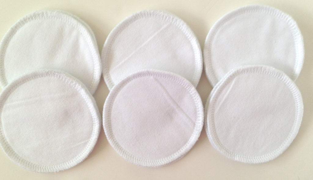 Reusable Nursing Pads- 6 Pairs (12 pads)- 100% White Cotton - Cute and Funky