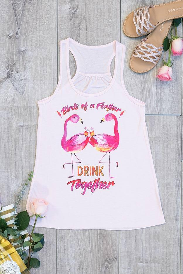 Birds of A Feather Drink Together Watercolor Tanks