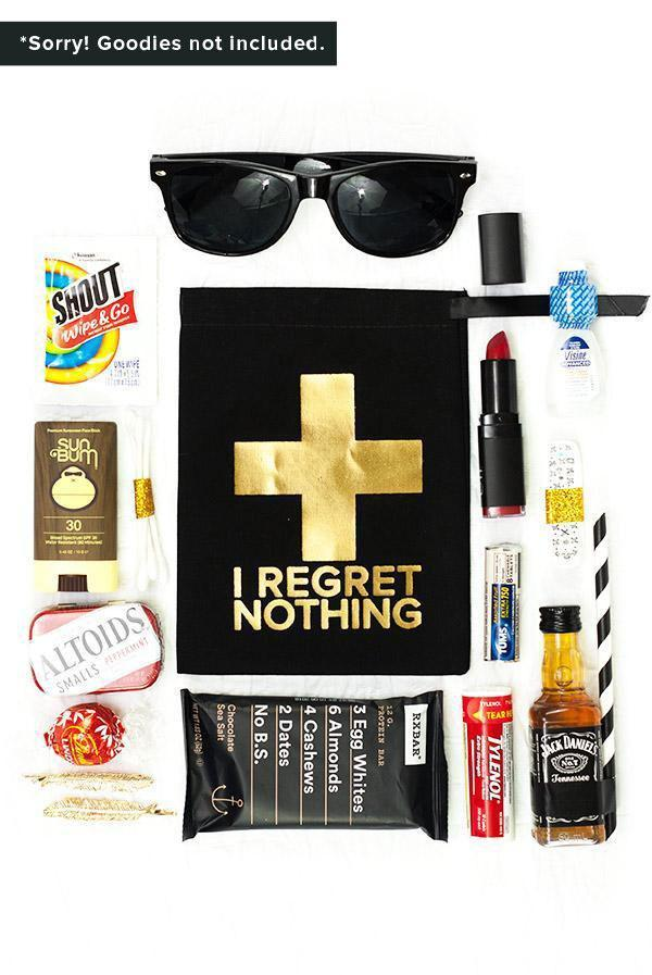Gold Foil No Regrets! Hangover First Aid Bags