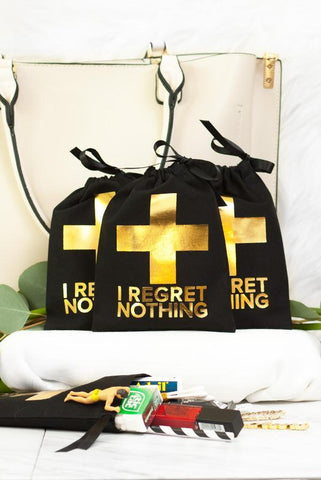 Gold Foil Bachelorette First Aid Bags - No Regrets! in Black