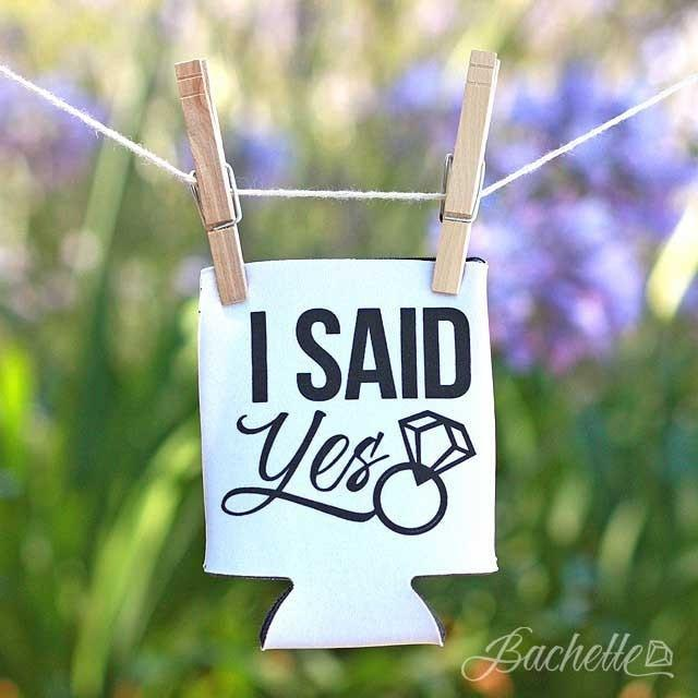 "Funny ""I Said Yes"" bachelorette party koozies"