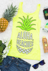 """Aloha Beaches"" neon beachy pineapple bachelorette party shirts available at bachette.com! Funny bachelorette party tops!"